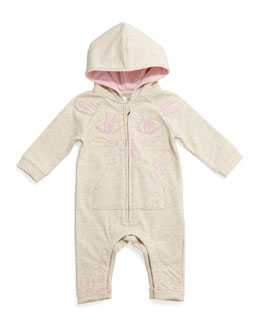 Little Marc Jacobs Hooded Coverall w/ Kitty Embroidery, Gray, Size 3-18 Months