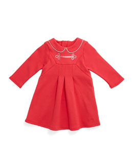 Little Marc Jacobs Milano-Fabric Pleated A-Line Dress, Pink, Size 12M-3