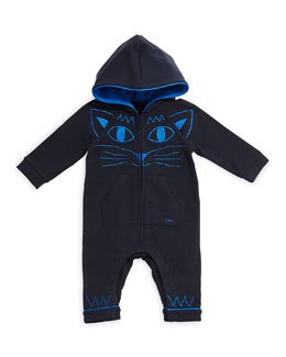 Little Marc Jacobs Hooded Coverall w/ Kitty Embroidery, Navy, Size 3-18 Months