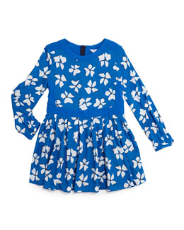 Little Marc Jacobs Long-Sleeve Floral-Print Dress, Blue, Size 4-12