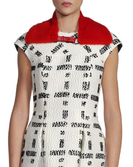 Fendi Mink Fur Collar, Red