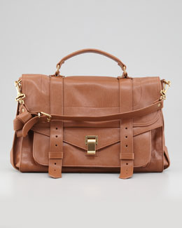 PS1 Large Leather Satchel Bag, Red Brown