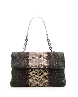Bottega Veneta Olimpia Medium Watersnake & Leather Shoulder Bag, Black/Brown