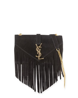Saint Laurent Monogramme Fringe Crossbody Bag, Black