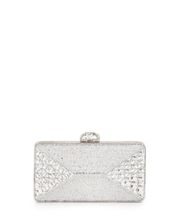 Judith Leiber Fanciful Pyramid-Faceted Pave Crystal Clutch, Silvertone