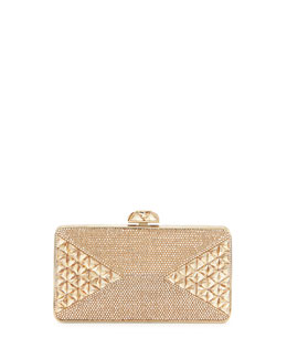 Judith Leiber Fanciful Pyramid-Faceted Pave Crystal Clutch, Champagne