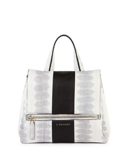 Givenchy Pandora Pure Two-Tone Snakeskin Satchel Bag, Black White