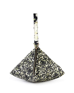 Baby's Breath-Print Triangle Large Leather Wristlet
