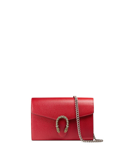 Dionysus Leather Mini Chain Bag, Red