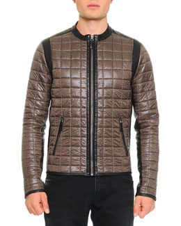 Dolce & Gabbana Quilted Jacket W/ Leather Trim, Olive