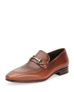 Salvatore Ferragamo Nicolas Burnished Calfskin Gancini Loafer, Brown