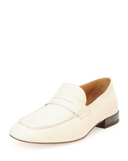Salvatore Ferragamo Naples Calfskin Penny Loafer, Off White""