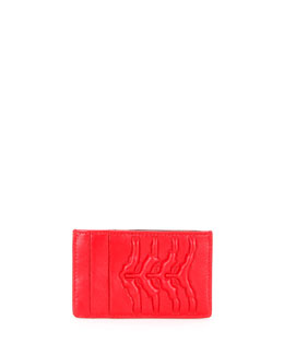 Spine-Embossed Leather Card Holder, Red