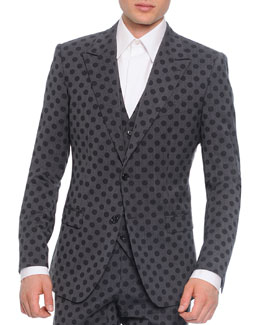 Dolce & Gabbana Wool Polka Dot Jacket and Vest, Gray