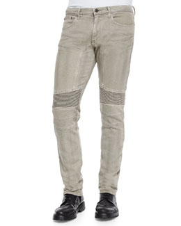 Belstaff Eastham Garment-Dyed Stretch Jeans, Gray