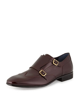 Salvatore Ferragamo Patent Leather Double-Monk Wing-Tip Shoe, Burgundy