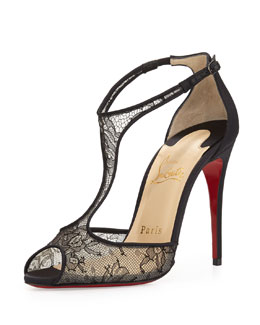 Christian Louboutin Tiny Chantilly Lace T-Strap Red Sole Sandal, Black