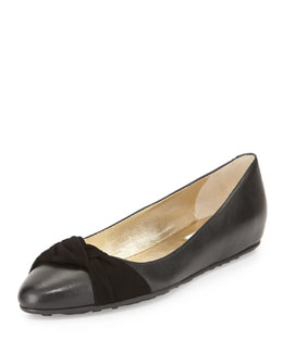 Jimmy Choo Warp Leather Ballerina Flat, Black