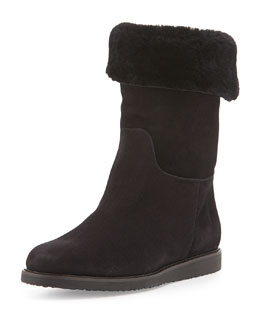 Salvatore Ferragamo My Ease 1 Shearling-Lined Suede Boot