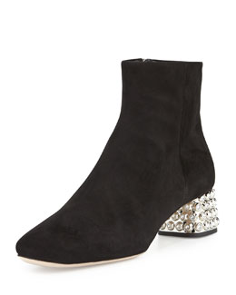 Miu Miu Jewel-Studded Block-Heel Ankle Boot