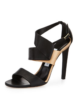 Jimmy Choo Trapeze Two-Tone Side-Twist Sandal