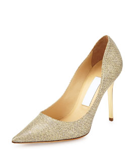 Jimmy Choo Abel Glitter Point-Toe Pump, Gold