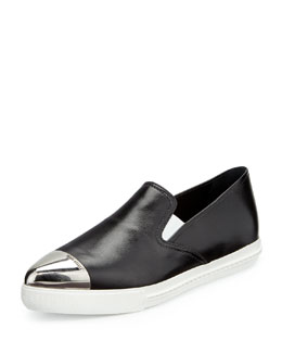 Miu Miu Plated Cap-Toe Leather Skate Shoe
