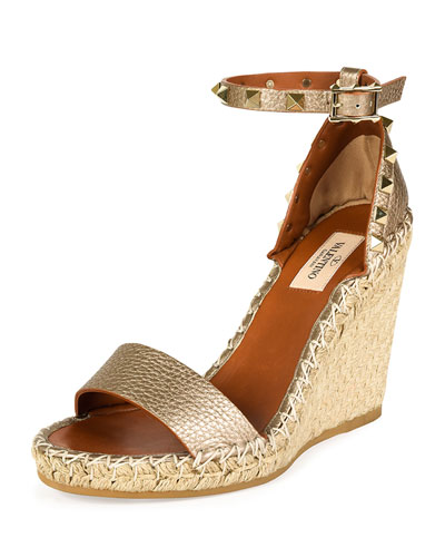 Metallic Leather Rockstud Espadrille Sandal, Skin/Light Cuir