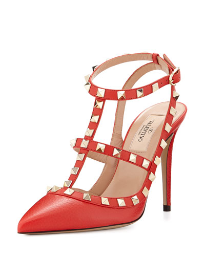 Rockstud Leather 100mm Pump, Deep Coral