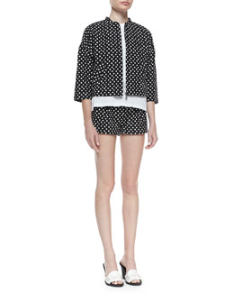 Band of Outsiders Polka-Dot Boxy Zip Jacket, St. Tropez Sketched Cotton Tee & Polka-Dot Side-Zip Shorts