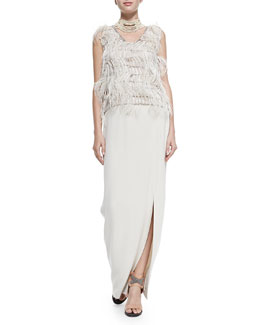 Brunello Cucinelli Sleeveless Ostrich Feather Blouse & Silk Crepe Maxi Skirt with Attached Belt