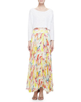 Alice + Olivia Long-Sleeve Slub Crop Top & Printed Pleated Maxi Skirt