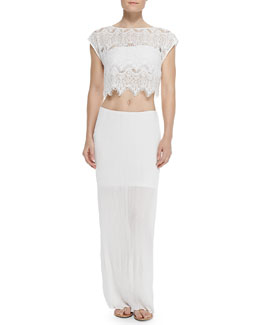 Alice + Olivia Farrell Cropped Lace Coverup Top & Sky Pleated Straight Maxi Skirt