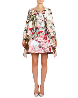 Mary Katrantzou Lobelia Sky Printed A-Line Coat & Tank Dress with Pouf Skirt