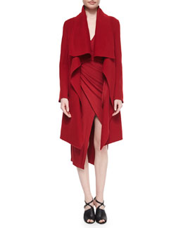 Donna Karan Double-Faced Cashmere Clutch Coat & Cool Wool Jersey Draped Surplice Dress