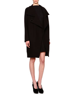 Giorgio Armani Asymmetric Wool-Blend Cocoon Coat & Godet-Pleated Fit-and-Flare Dress