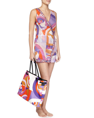 Printed Wrap Coverup Romper & Kaleidoscope-Print Large Canvas Bag