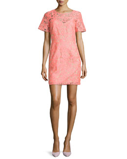 Veronica Beard Floral Embroidered Lace Shift Dress, Neon Pink/Nude