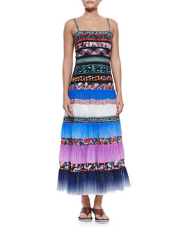 Jean Paul Gaultier Mixed-Print Pleated Maxi Coverup