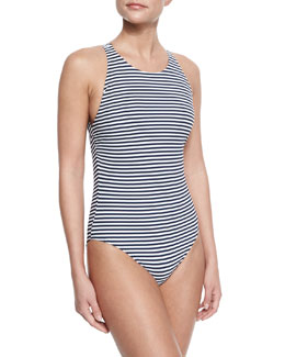 Tory Burch Striped High-Neck One-Piece Swimsuit