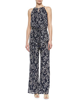 Tory Burch Atelier Printed Sleeveless Jumpsuit