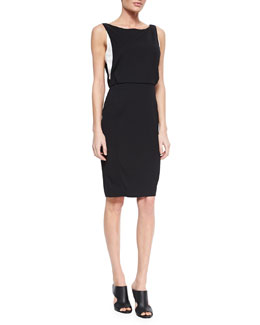 Veronica Beard Slim Crepe Dress with Contrast Lining