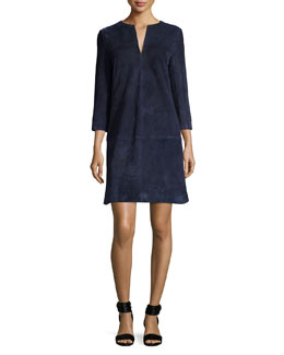 Tory Burch Split-Neck 3/4-Sleeve Suede/Knit Dress, Navy