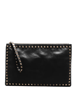 Valentino Rockstud Leather Clutch Bag, Black
