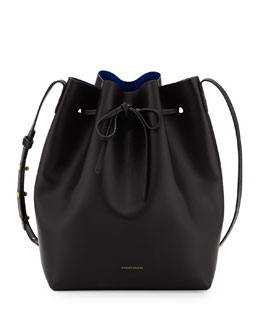 Mansur Gavriel Coated Leather Bucket Bag, Black/Royal