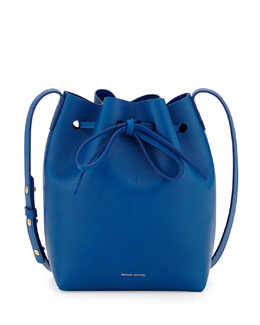 Mansur Gavriel Mini Coated Leather Bucket Bag, Royal