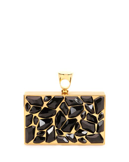 Tom Ford Crystal Brass Ring Clutch Bag, Black