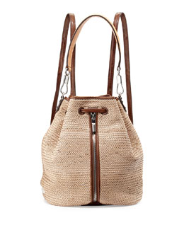 Cynnie Woven Drawstring Backpack, Natural
