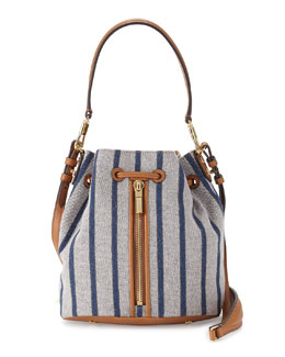 Cynnie Mini Bucket Bag with Lambskin Trim, Multicolor