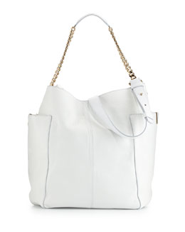 Jimmy Choo Anna Leather Tote Bag, White